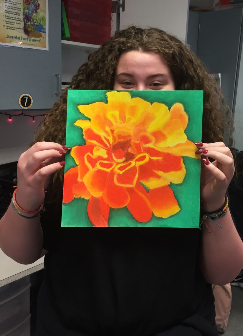 Flower Power - Girl with Marigold Flower Drawing